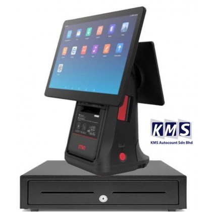 Android All in One 15.6 inch + 10.1 Dual screen Build in printer  + Cash drawer + Lovyerse software for FNB