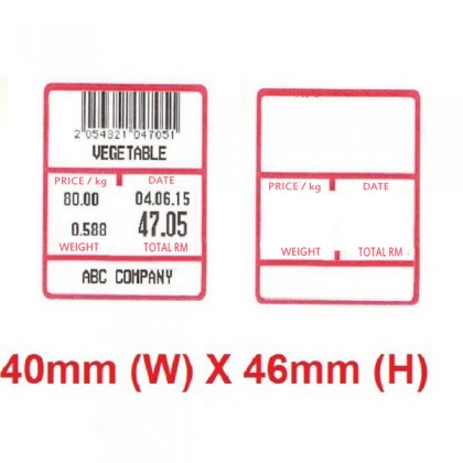 40mm x 46mm Weighing Scale Direct Thermal Label Sticker
