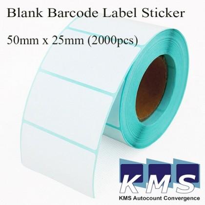Blank Barcode Label Sticker 50mm x 25mm (2000pcs/roll)